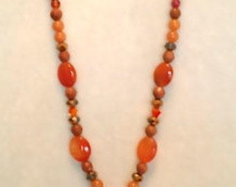 Carnelian crystal necklace