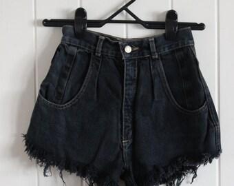 Short black high waisted denim shorts, 90's, grunge, indie, vintage, beach goth
