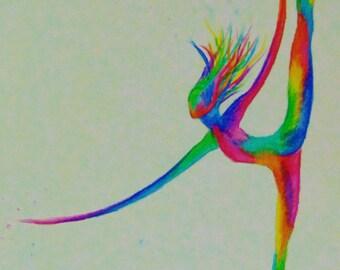 "technicolour ballerina, watercolour print, 6"" x 4.5"""
