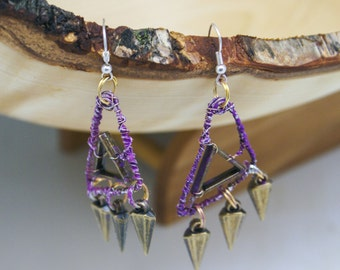 Purple Triangle Rustic Alchemy Dangle Earrings