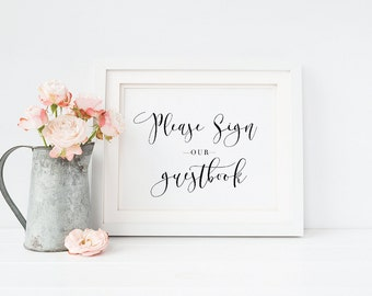 Printable Guest Book Sign, Wedding Sign, Wedding Decor, Guest Book, Wedding Printable - A06