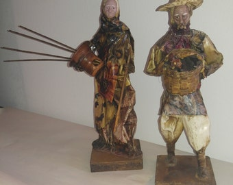 Incense burner. Vintage, Spanish Folk /Peasant Couple made from Paper Mache Set contains 2 figurines