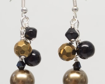 Black & Gold Pearl Fantasy Cluster Dangle Earrings
