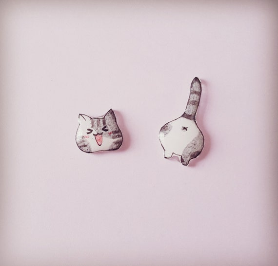 Cat earrings, Cat stud earrings, Cat jewellery, Animal earrings, Earrings, Crazy cat lady