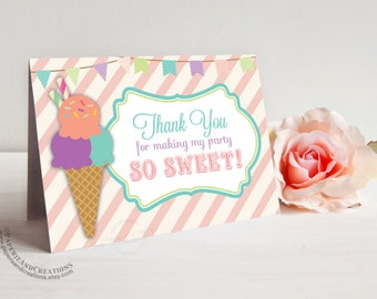 Ice Cream Thank You Cards - Ice Cream Social - Instant download
