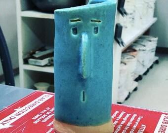 Turquoise Ceramic Pothead