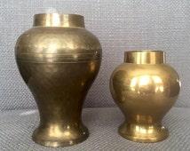 Two (2) Vintage Brass Vases / Decor