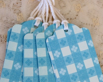8 Country Blue Checkered Gift tags,Packaging,Scrapbooking