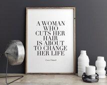 PRINTABLE Art,Coco Chanel Quote,SALON WALL Decor,Hair Quote,Chanel Decor,Inspirational Quote,motivational Print,Wall Art,Hair Bows,Quote Art
