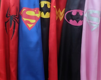 1 ADULT Superhero cape - Supergirl, Wonder Woman, Batman, Superman, Spiderman Capes - Superhero, birthday party favors,  superhero capes