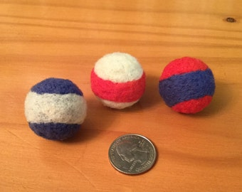 Needle felted catnip filled toy balls for cats - Red White and Blue set of three