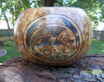 OOAK, Handmade Gourd Bowl, Pyrography (Wood Burned)