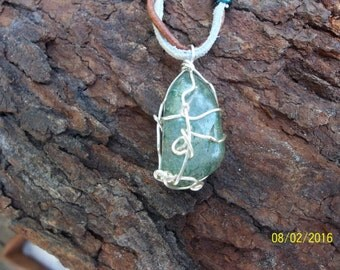 Green With Envy!! Handmade Wire Wrapped Quartz Leather Necklace
