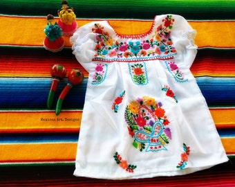 Valeria White  Mexican Embroidered Baby Dress