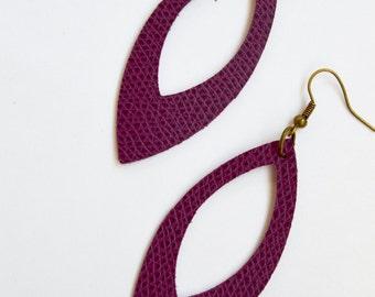 Plum Berry Purple Leather Cutout  Earrings:  Leaf Shape Cut Out Earrings