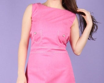 Groovy 60s Vintage Pink A line Dress