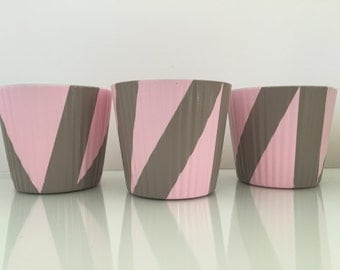 Abstract Patterned Beige and Pink Pots