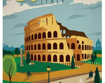 Rome Travel Poster, Italy Travel Poster, Vintage Travel Poster, Travel, Vintage, Rome, Italy