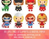 30% OFF Supergirl clipart, Super Hero Clipart, Avengers Super Hero Clip art, digital clipart, Marvel comic, Instant Download PNG - 300 dpi