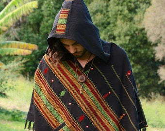 Black Poncho with Hood Kashmiri Wool, Earthy Tribal Pattern Festival Gypsy AJJAYA Mens Wear Winter Warm Primitive Nomadic Mexican pockets