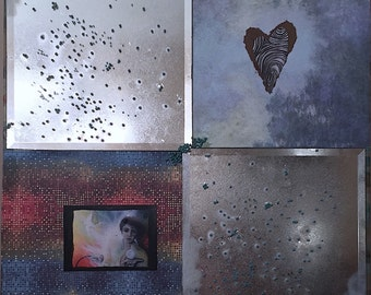 Mixed Media Art: mirrors..decorative paper..beads..gloss