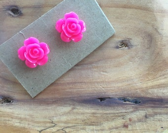 Resin Rosebud Earrings-- SALE
