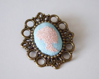 Vintage brooch / accessory / gift / micro embroidery / exclusive