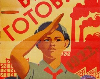 RARE Original Soviet Pionner Poster | Authentic Propaganda Poster