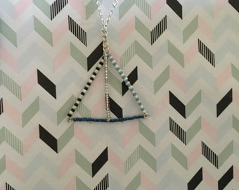Beaded bar triangle necklace