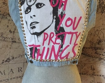 XS Studded American Apparel Denim David Bowie Patch Vest Size Extra Small