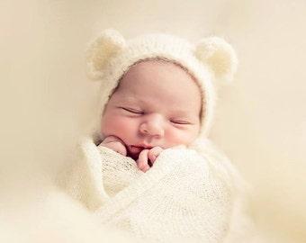 Newborn bonnet / panties bear for baby photography material Alpaca silk