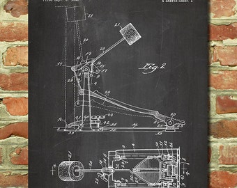 Music Art, Drum Gift, Bass Drum Blueprint, Kick Drum Set Art, Music Print Drummer Decor, Musical Instrument Art Drums Kick Pedal Patent P109