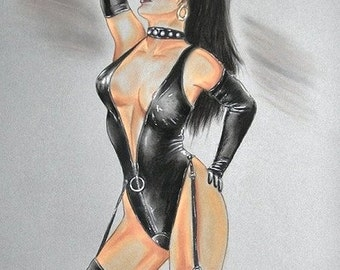 Curiosa erotic pastel  representing a domina dressed in latex