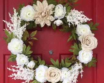 White & cream leafy wreath