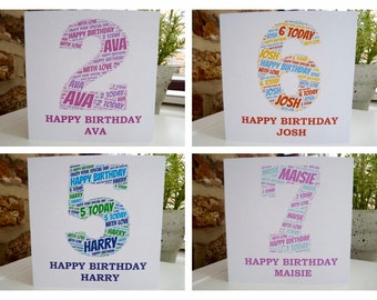 Personalised Childs Birthday Card, Personalised Child's Age Card, Child's Birthday Card
