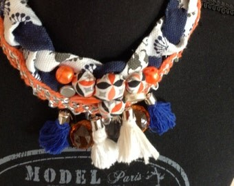Necklace ethnic trend blue predominantly Orange and white