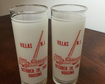 Vintage Tom Collins Glasses Set of 2 | Bright Red Crane Truck | New Jersey