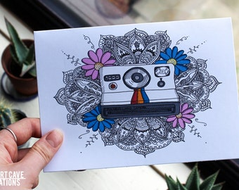 Greetings Card // Colour Polaroid Hand Illustrated Mandala // Birthday Card // Thank You Card // A5 + Envelope Included