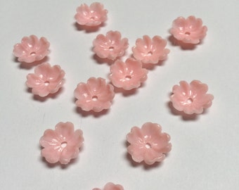 Vintage Plastic Flowers in Pink - 24 Pieces - #380