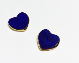 Vintage German Gold Edged Glass Hearts in Dark Blue - 2 Pieces - #539