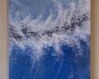 Waves in Blues on wood