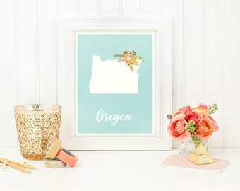 Items similar to i love oregon 5x7 print on etsy for Oregon craft floral