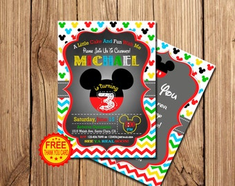 Mickey Mouse Birthday Invitation, Mickey Mouse Invitation, 3rd Birthday Invitation,  Mickey Birthday Invitation, Free Thank You Card