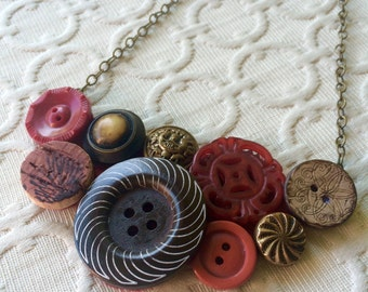 Burgundy Button Assemblage Necklace