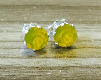 Yellow Opal Swarovski Crystal Sterling Silver Earrings