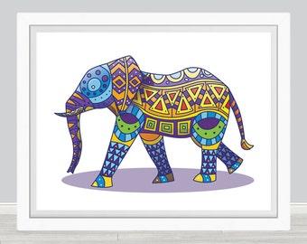 Elephant  Art Print, Poster, Wall Art, Home Decor, Kids Wall Art, Play Room Wall Art, Archival print