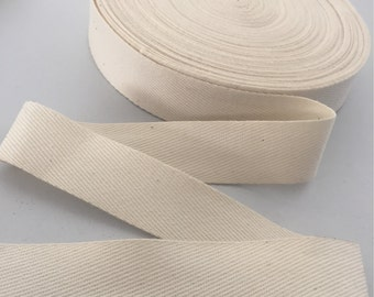 20MM Natural / Cream COTTON TAPE 0.5mm Thick. Twill Tape, Webbing, Straps, Belts, Decoration, Craft, Bunting, Sewing, Dress Material.