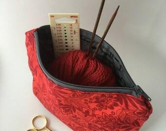 Red Floral Notions Bag, Makeup Bag, Zipper Pouch, Pencil Case