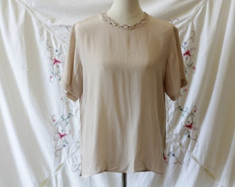Taupe silk blouse | Braided woven neckline blouse | vintage silk tee | Size m / l