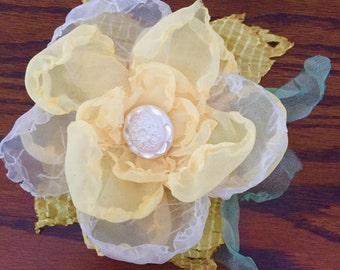 Yellow Fabric Flower Pin Hairpiece with Pearl Flower Button Centerpiece